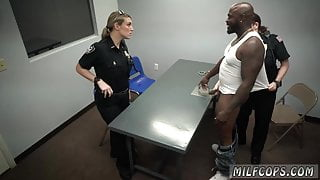 Two hot police MILFs try big black cock!