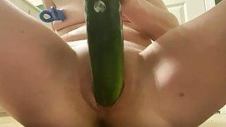 Whore fucking BIG Cucumber