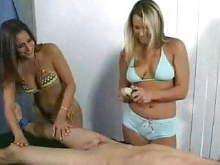 Girls giving guys handjob 2 girls give bound guy cfnm handjob