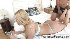 Cutie Vanessa rides her guy until he creams all over her