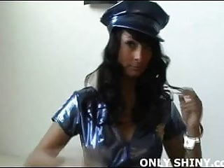 Sexy pvc dress with zipper front Sexy pvc police officer rebecca teasing