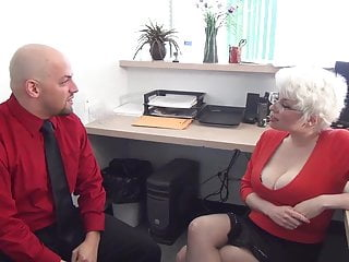 Handjob in boxers - Brutal femdom handjob in office from busty milf