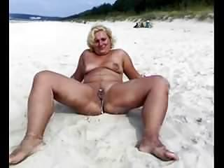 Peeing beach Blonde mature pees on the beach