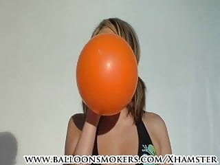 Pop porn up - Teen in bikini blows up to balloons till they pop