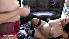 Busty Sarah Jane's first mature lesbian experience