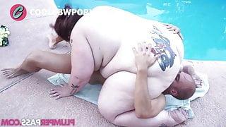 Fat woman fucked in pool