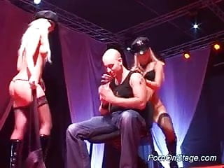 Stage two breast cancer in 2000 Two twin blonde strippers on stage teasing a horny guy