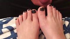 Cum on feet black toes