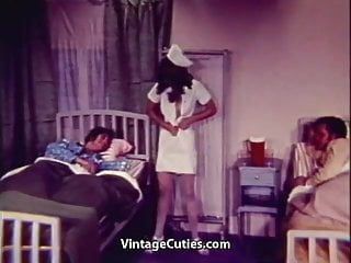 Sexual addiction treatment Nurse gives patients sexual treatment 1960s vintage