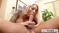 Busty blonde Lolly Ink sucks off a big cock