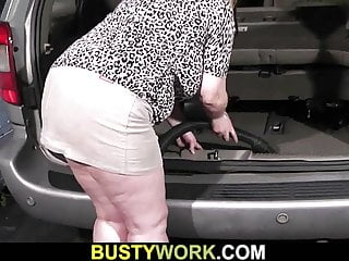 Polish woman with huge boobs - Huge boobs woman pleases her boss at work