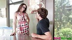Throating cougar stepmom with big boobs