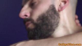Bald inked straighty railing bottoms ass