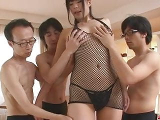 Asian job seekers - Three guys get a japanese girl blow job from saki aoyama