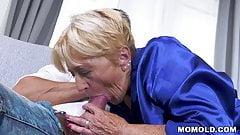 Slutty old lady Malya fucks that chum on the couch