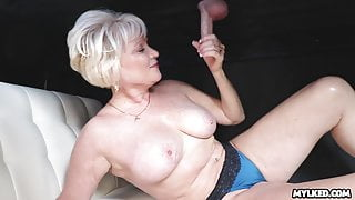Cum on This MILFS Tits at the Milking Table