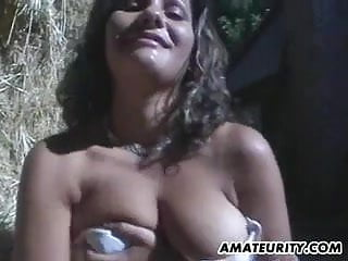 Tit action Very busty amateur girlfriend in action with facial