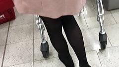 Teen with black pantyhose at Rewe