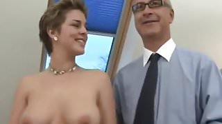 Old man gives girl an anal creampie
