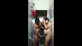Pregnant Indian Couple In Bathroom Bathing