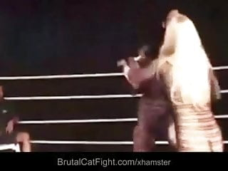 Box fuck Two cleaning ladies fight in the boxing ring and gets fucked