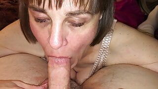 Wife sucking off a friend and he gives her an oral creampie