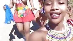 Busty Zulu girls dancing topless selfie