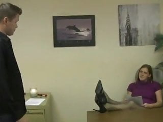 Sperm donation help - Coworker helps boss get sperm on feet in pantyhose