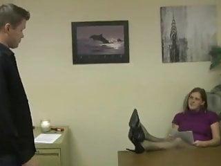Sperm donation help - Coworker helps boss get sperm on feet in pantyhose