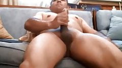 Muscular dude with a uncut thick dick