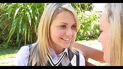 Preppy schoolgirl Mia Malkova. Lesbian tongue kiss seduction
