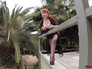 Mature red - Mature red xxx teasing outside on the patio
