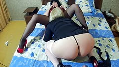 Two lesbian sluts put each other on a strapon