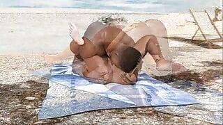 The Adventurous Couple:Housewife Public Beach Interracial-55