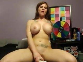 Girl cums on machine - Busty big tit girl cums on dildo on cam
