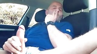 Sexy Daddy Smokes And Strokes His Cock In Rest Area No Cum