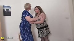 Two chubby mature lesbians fuck