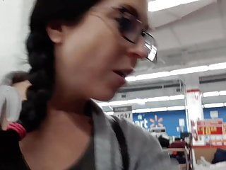 Department of adult services - Nerdy girl pisses on department store clothing