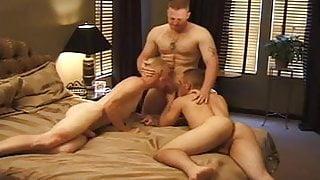 three men in a hotel room fun