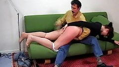 CMNF - French girl spanked hard