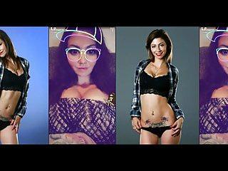 Laying out bikini - Jade stripper brings out bikini thong panties