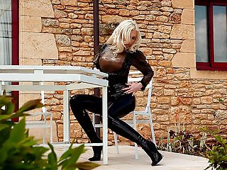 White latex fetish outfits Blonde lady sexy latex outfit outdoor