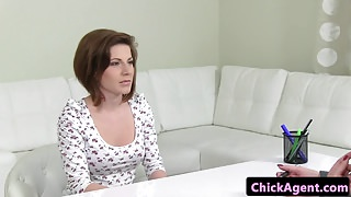 Client pussyrubs euro casting agent in office