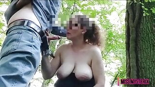 squirt wife masturbates and sucks in forest film for husband