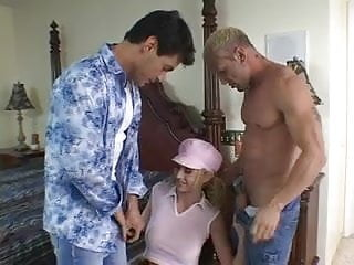 Teen girls taking on large cocks Hot blonde sucks and takes two large cocks in bed