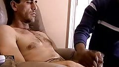 Gay amateur has black guy blowing him while jerking off