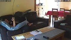 Mom caught masturbating on couch - hard orgasm
