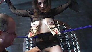 Brunette with a nice rack, bound & pleasured
