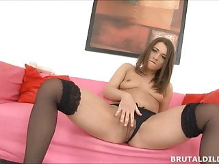 Monster dick in hot babe - Hot babe in stockings with monster dildo
