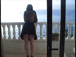 My wifes sexy legs Sexy legs shows all on the balcony